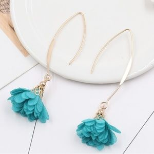 flower gold drop Dangling earrings